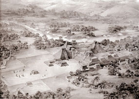 Illustration of the Acropolis at Copán by Tatiana Proskouriakoff: see if you can spot where the ball court is...! Open to get the answer.