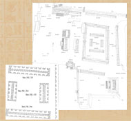 Pic 3: Drawing of the market at Tikal. The market is the large enclosed rectangle with further divisions inside in the center of the East Plaza. The enlarged section clearly shows the internal stall divisions