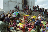 Pic 9: Modern Maya markets today, such as the one at Chichicastenango, Guatemala, still take place in a plaza with a shrine nearby - in this case, the church