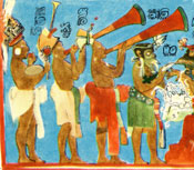 Pic 5: What appears to be an ocarina player follows two trumpeters in a processional band of Maya musicians, Bonampak murals (reconstruction)