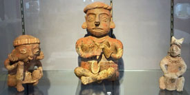 Pic 5: L-R: Figurine holding a bowl (possibly chanting or singing). Nayarit, late preclassic/classic. Figurine holding a turtle shell and beater. Nayarit, late preclassic/classic. Figurine of drum and player. Jalisco, late preclassic/classic