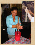 Pic 8: Using molinillo to make a cacao drink. Inset: making a molinillo from the molinillo tree (Quararibea funebris)