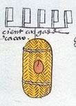 Pic 11: Soconusco cacao tribute to the Aztecs. Codex Mendoza, fol. 47