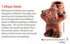 This is not a 'replica' of anything meaningful, and as far as we know the Maya didn't worship a god of spring, though they WERE influenced by the Central Mexican deity Xipe Totec, who had associations with spring and rebirth