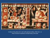Pic 7: Painted Maya vessel showing scribes at work in a ruler's palace