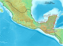 Pic 11: Map showing Mayapán in the northern Maya area within the larger Mesoamerican region