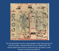 Pic 12: Maya rain god Chaak and creator goddess Chak Chek pouring rain onto the earth, Madrid Codex