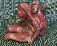 Pic 2: Pottery figurine of a mother carrying two children, culture unknown (INAH reproduction)