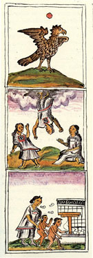 Pic 3: Protecting children from the dangers of 'lesser Goddesses' descending to earth on the 'evil' day 1-Eagle; Florentine Codex Book 4, Chapter 33