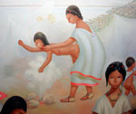 Pic 8: Punishment: 'Human tenderness could not temper that bleak reality, but only strengthen the individual to bear it' (Clendinnen); detail, mural by Regina Raúll, 'Paisaje Mexica' (1964), National Museum of Anthropology