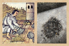 Pic 3: Grinding (charcoal) on a metate, Florentine Codex Book 11 (L); ground obsidian on a metate (R)