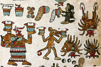 Pic 7: Flint knives looming over bowls of agave wine ('octli') (bottom L); Codex Vindobonensis pl. 20 (detail)