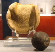 Pic 5: A solid rubber ball used (or similar to those used) in the Mesoamerican ballgame, 300 BCE to 250 CE, Kaminaljuyu, Guatemala