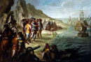 Painting 'The Arrival of Cortés in Mexico' by Vicente Alanís