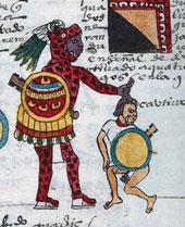 Pic 2: Four-captive Aztec warrior dressed in jaguar costume. Codex Mendoza fol. 64r (detail)