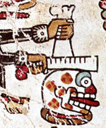 Pic 6: Close-up of the skull resonator, femur rasp and bone implement which Castañeda & Mendoza suggest is a shoulder-blade, Codex Vindobonensis pl. 24r (detail)