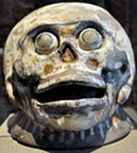 Pic 7: A fired clay polychrome skull resonator, National Museum of Anthropology, Mexico City