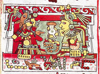 Pic 8: Mixtec ruler 8-Deer ('Jaguar Claw') receives a jug of foaming chocolate from the hands of his wife 13-Snake ('Flower Snake'), Codex Zouche-Nuttall pl. 26