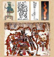 Pic 5: Rainstick imagery: Tlaloc, Codex Ixtlilxochitl (top L), Maya rain/lightning sticks (top centre), modern reconstruction (top R), Tlaloc, Codex Vaticanus B (bottom)