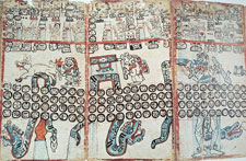 Pic 6: Madrid Codex, pp. 14-16 (facsimile edition). Note the loss of the rattles (p. 14, bottom left section) as the rattlesnake changes position reflecting the invisibility of the Pleiades during May. Note also the rain!