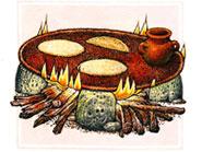 Pic 5: An Aztec hearth, with three sacred hearthstones; illustration by Felipe Dávalos
