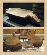 Pic 12: Querns across the sea, both c. 1000 BCE: Costa Rican metate, Museu Barbier-Mueller D'Art Precolombí, Barcelona (top); broken saddle quern, Wandle Valley, UK, Museum of London (bottom)