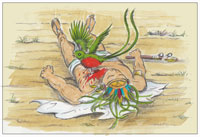 Pic 3: 'The quetzal flew down and landed on Tecun Uman's chest, and was instantly stained red…'