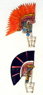Pic 2: 'Cueçalpatzactli' and 'Cacalpatzactli' headdresses depicted in 'Primeros Memoriales', fol. 76v (detail)