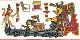 Pic 6: Chalchiuhtlicue depicted in the ritual 260-day calendar, Codex Borgia, fol. 65 (detail), from a restoration by Díaz & Rodgers