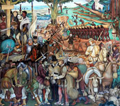 Pic 15: Mural by Diego Rivera of the Spanish Conquest of Mexico, Palacio Nacional, Mexico City