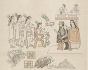 Pic 16: Cortés and La Malinche meet Moctezuma II, November 8th. 1519; Lienzo de Tlaxcala (original c. 1550 CE)