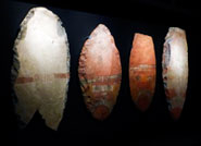 Pic 4: Four large stone slabs in the shape of sacrificial knives, Templo Mayor