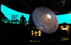 Pic 6: Light-and-sound projection of the Creation of the Fifth Aztec Sun, 'Azteken' exhibition, Linden Museum, Stuttgart