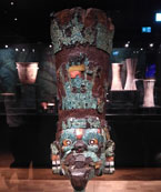 Pic 7: Turquoise mosaic Aztec mask with spondylus shell, mother-of-pearl and malachite on a wooden frame, National Museum of Denmark