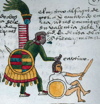 Pic 2: A Mexica warrior captures an enemy, symbolically grasping a clump of the latter's hair - and with it his tonalli; Codex Mendoza fol. 65r (detail)