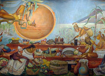 Detail of a mural of Maya life, focusing on the gift of food, by Rina Lazo at the National Museum of Anthropology, Mexico City