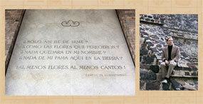 The poem mentioned by John Bierhorst, Museo Nacional de Antropología, Mexico City; Bierhorst on the steps of a pyramid at Teotihuacan in 1968