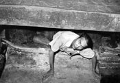 Alberto Ruz, inside Pakal's tomb, June 20, 1952