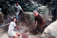 Elizabeth Graham and David Pendergast excavating at Lamanai, Belize. Prof Graham has been Director of the Lamanai Archaeology Project since 1997