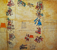 Pic 6: The Feast of Tititl, depicting goddess of chinampa agriculture Cihuacóatl; Codex Borbonicus, plate 36