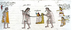Pic 2: Two Mexica officers present to a Mexica constable a provincial ruler condemned to death for permitting an attack on Aztec merchants; following the captive is his wife and son, in slaves' fetters. Codex Mendoza fol. 66r (detail)
