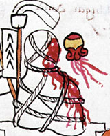 Pic 8: A bleeding human heart alongside an Aztec mortuary bundle; Codex Magliabechiano fol. 66 (detail)