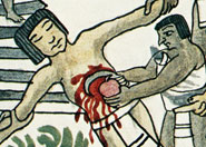 Pic 9: The heart is removed from a sacrificial victim; Tovar Manuscript fol. XXI (detail)