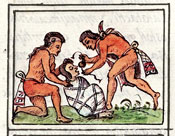 Pic 12: Preparing a corpse for burial; Florentine Codex Book III