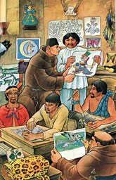 Pic 4: Artist's impression of Sahagún at work with his team of Nahua informants on the Florentine Codex