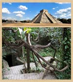 Pic 4: The pyramid of Kukulcan, Chichén Itzá and the entrance to the Balamkanché cave