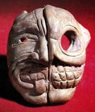 Pic 3: Clay head from Tlatilco representing life-death duality; Preclassic (c.1000 BCE)