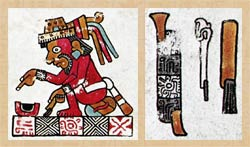Pic 2: A Mixtec scribe, with brush in his left hand, and artists' tools* - copper chisel, chisel, paintbrush - in the Codex Vindobonensis (L: pl 48, detail; R: pl 18, detail).