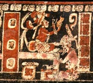Pic 7: Maya artists (or deities?) paint a mask (above) and a codex (below); polychrome vase, K717