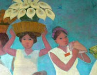 Pic 2: Two young Nahua women, one playing a conch shell trumpet; (detail of) mural by Antonio González Orozco, Hospital de Jesús Nazareno, Mexico City